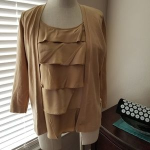 AUGUST SILK CARDIGAN WITH ATTATCHED RUFFLED TANK